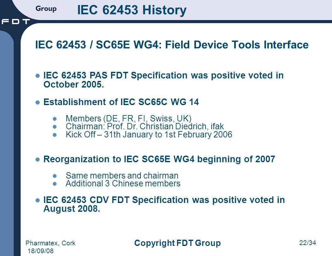 22/34 Pharmatex, Cork 18/09/08 Copyright FDT Group IEC 62453 History IEC 62453 / SC65E WG4: Field Device Tools Interface IEC 62453 PAS FDT Specificati