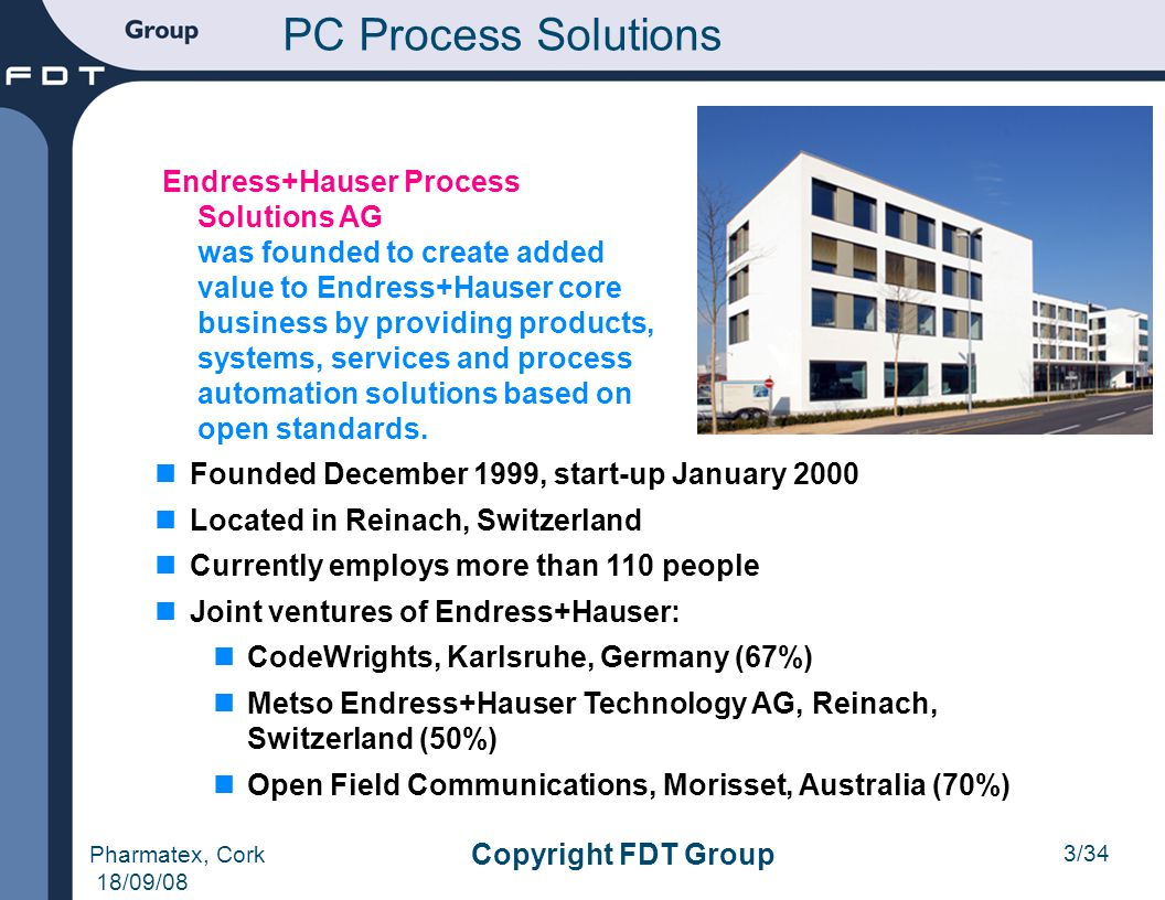 3/34 Pharmatex, Cork 18/09/08 Copyright FDT Group PC Process Solutions Endress+Hauser Process Solutions AG was founded to create added value to Endres