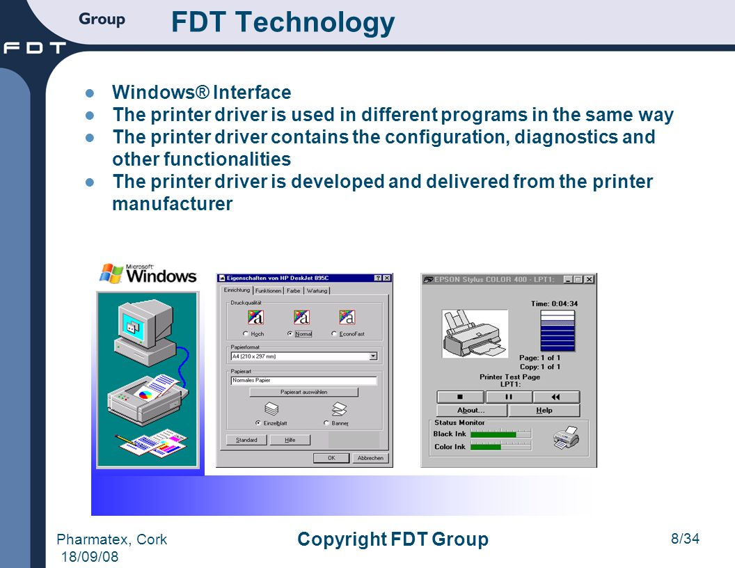9/34 Pharmatex, Cork 18/09/08 Copyright FDT Group FDT Technology FDT/DTM Interface The DTM is used in different programs in the same way The DTM contains the configuration, diagnostics and other functionalities The DTM is developed and delivered by the device manufacturer