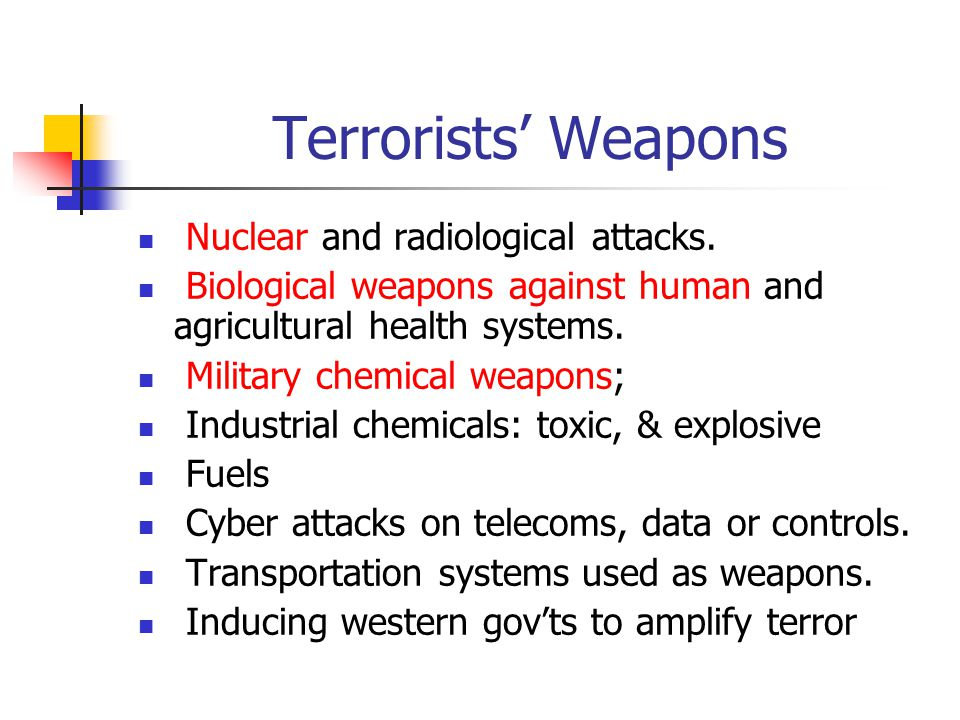 Terrorists Weapons Nuclear and radiological attacks. Biological weapons against human and agricultural health systems. Military chemical weapons; Indu