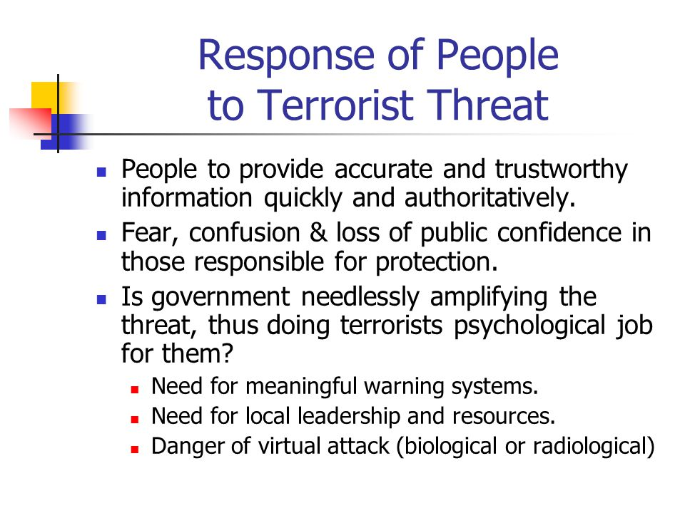 Response of People to Terrorist Threat People to provide accurate and trustworthy information quickly and authoritatively. Fear, confusion & loss of p