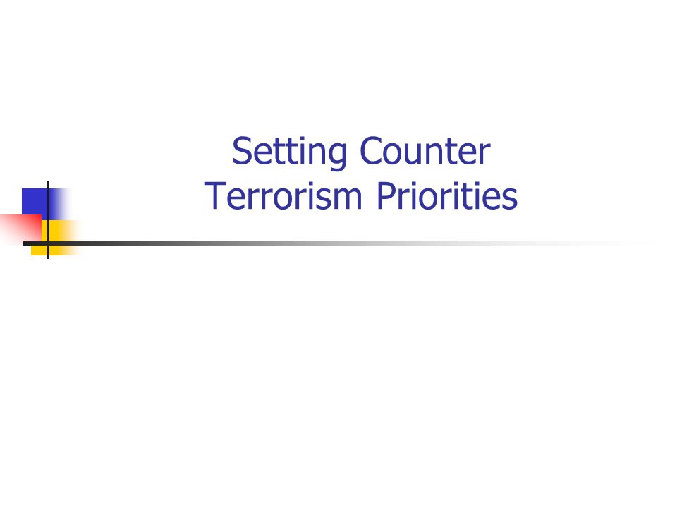 Setting Counter Terrorism Priorities