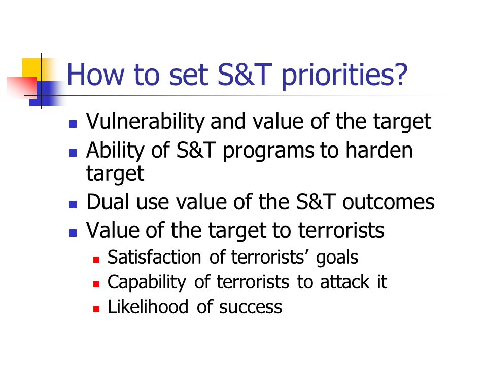 How to set S&T priorities? Vulnerability and value of the target Ability of S&T programs to harden target Dual use value of the S&T outcomes Value of