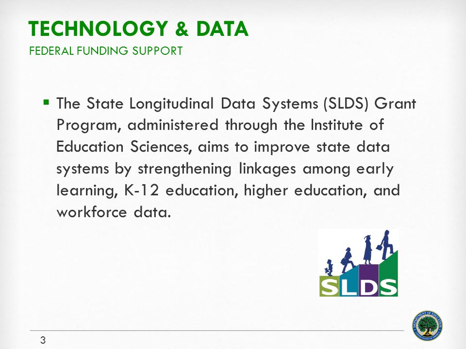 TECHNOLOGY & DATA The State Longitudinal Data Systems (SLDS) Grant Program, administered through the Institute of Education Sciences, aims to improve state data systems by strengthening linkages among early learning, K-12 education, higher education, and workforce data.