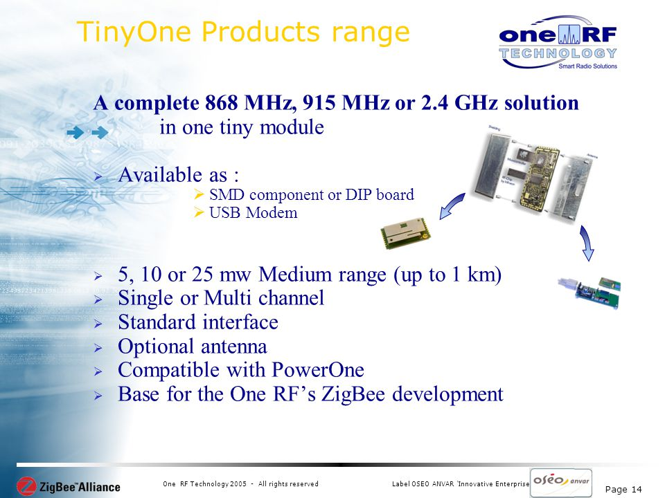 Page 14 One RF Technology 2005 - All rights reservedLabel OSEO ANVAR Innovative Enterprise TinyOne Products range A complete 868 MHz, 915 MHz or 2.4 GHz solution in one tiny module Available as : SMD component or DIP board USB Modem 5, 10 or 25 mw Medium range (up to 1 km) Single or Multi channel Standard interface Optional antenna Compatible with PowerOne Base for the One RFs ZigBee development