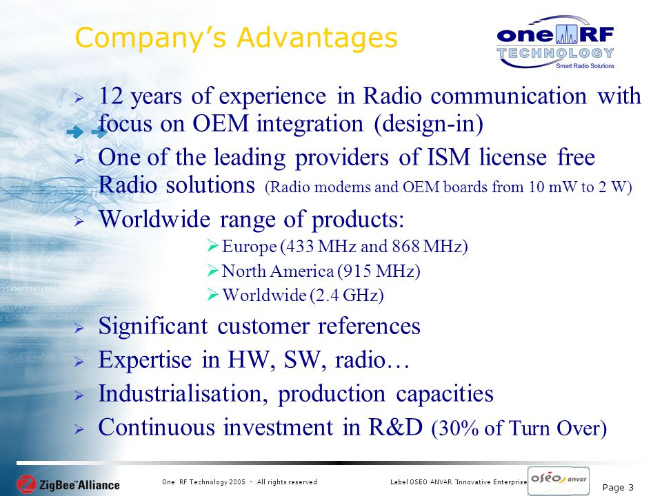Page 3 One RF Technology 2005 - All rights reservedLabel OSEO ANVAR Innovative Enterprise Companys Advantages 12 years of experience in Radio communication with focus on OEM integration (design-in) One of the leading providers of ISM license free Radio solutions (Radio modems and OEM boards from 10 mW to 2 W) Worldwide range of products: Europe (433 MHz and 868 MHz) North America (915 MHz) Worldwide (2.4 GHz) Significant customer references Expertise in HW, SW, radio… Industrialisation, production capacities Continuous investment in R&D (30% of Turn Over)