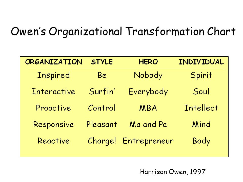 Owens Organizational Transformation Chart Harrison Owen, 1997