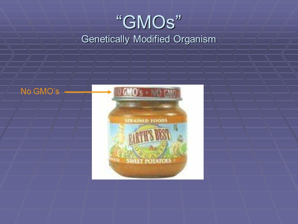 GMOs Genetically Modified Organism No GMOs