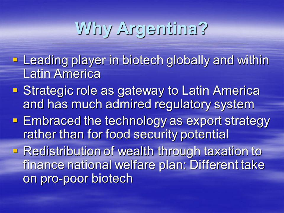 Why Argentina? Leading player in biotech globally and within Latin America Leading player in biotech globally and within Latin America Strategic role