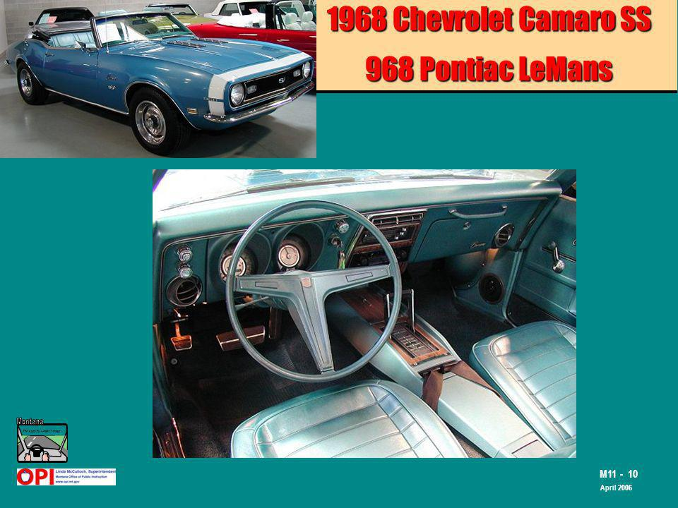 The Road to Skilled Driving M11 - 10 April 2006 1968 Chevrolet Camaro SS 968 Pontiac LeMans