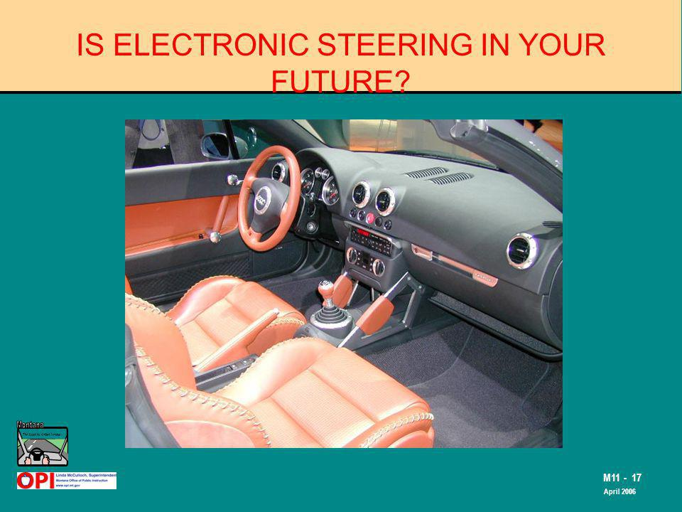 The Road to Skilled Driving M11 - 17 April 2006 IS ELECTRONIC STEERING IN YOUR FUTURE?