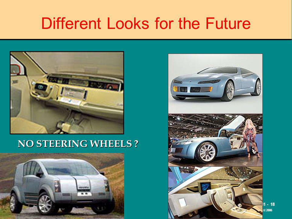 The Road to Skilled Driving M11 - 18 April 2006 Different Looks for the Future NO STEERING WHEELS ?