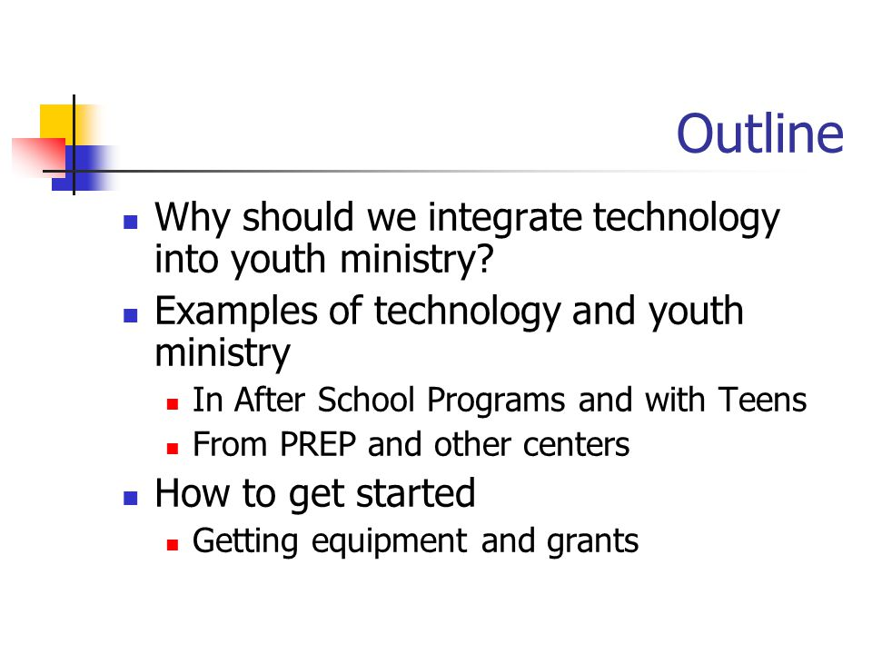 Outline Why should we integrate technology into youth ministry? Examples of technology and youth ministry In After School Programs and with Teens From