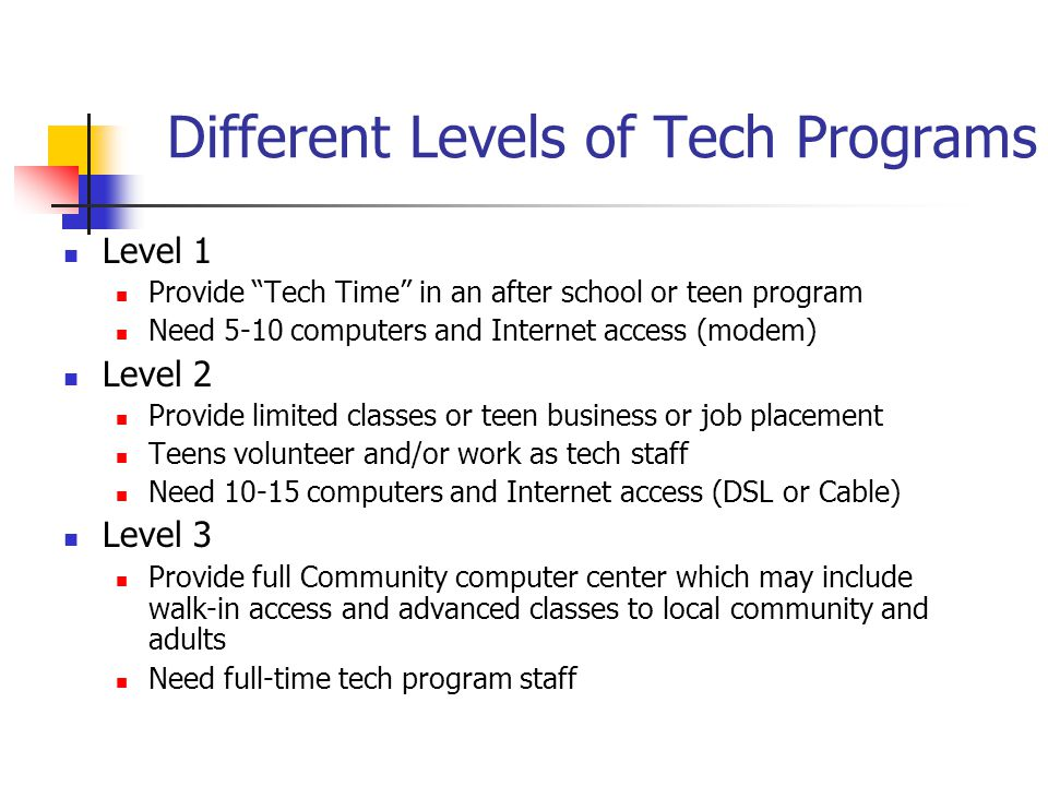 Different Levels of Tech Programs Level 1 Provide Tech Time in an after school or teen program Need 5-10 computers and Internet access (modem) Level 2