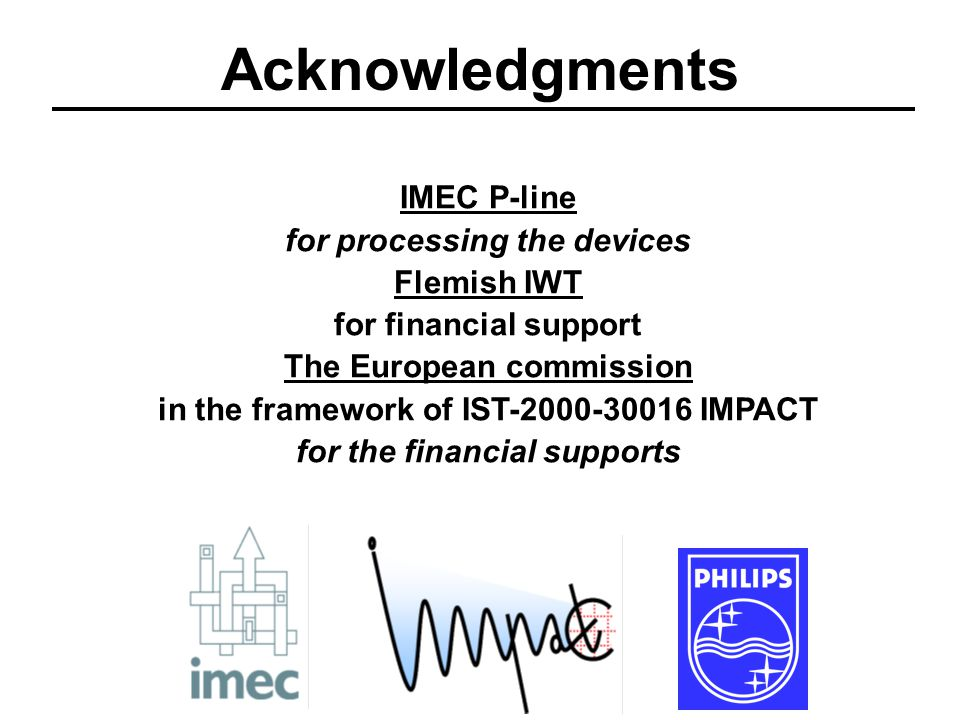 IMEC P-line for processing the devices Flemish IWT for financial support The European commission in the framework of IST-2000-30016 IMPACT for the financial supports Acknowledgments