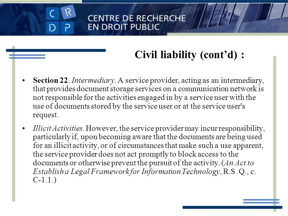 Civil liability (contd) : Section 22. Intermediary.