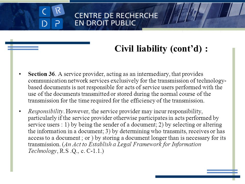 Civil liability (contd) : Section 36.