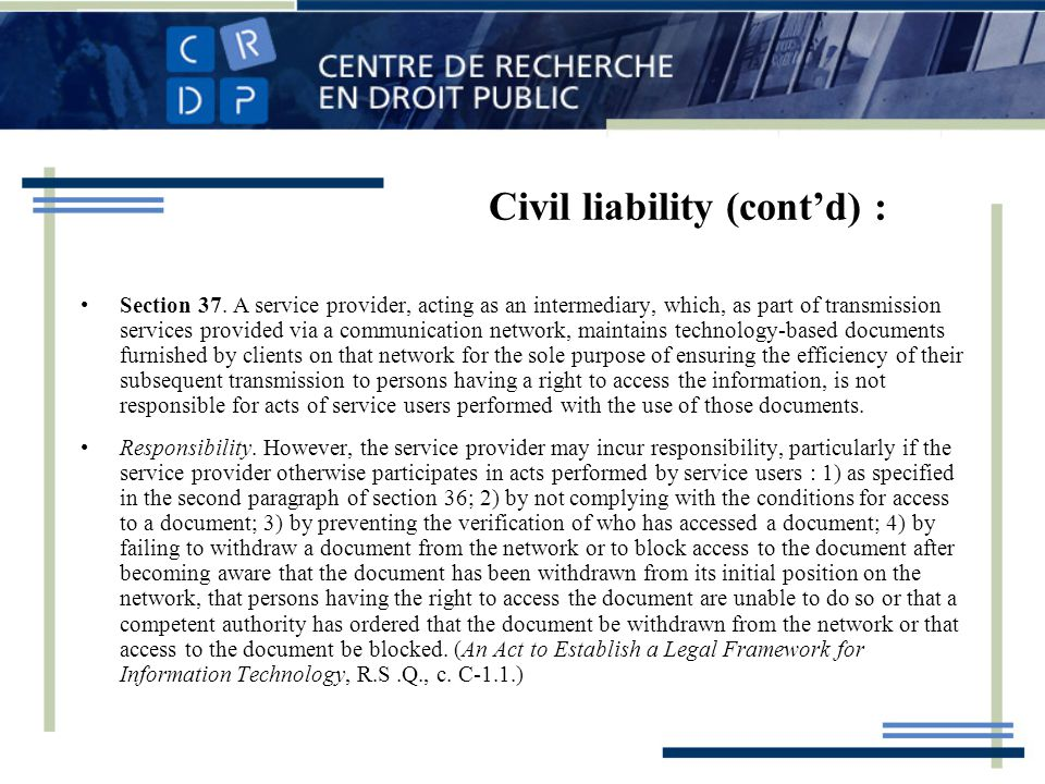 Civil liability (contd) : Section 37.