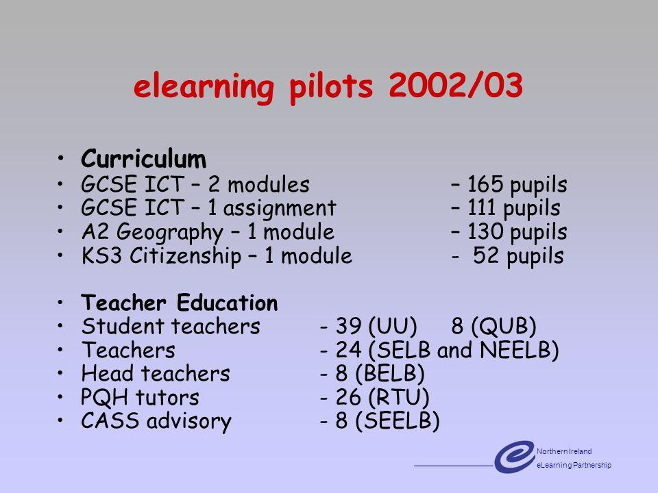 Northern Ireland eLearning Partnership elearning pilots 2002/03 Curriculum GCSE ICT – 2 modules – 165 pupils GCSE ICT – 1 assignment – 111 pupils A2 Geography – 1 module – 130 pupils KS3 Citizenship – 1 module- 52 pupils Teacher Education Student teachers- 39 (UU) 8 (QUB) Teachers- 24 (SELB and NEELB) Head teachers - 8 (BELB) PQH tutors- 26 (RTU) CASS advisory - 8 (SEELB)