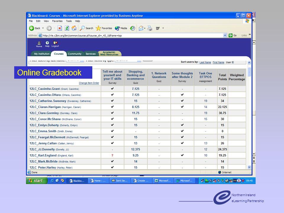 Northern Ireland eLearning Partnership Online Gradebook