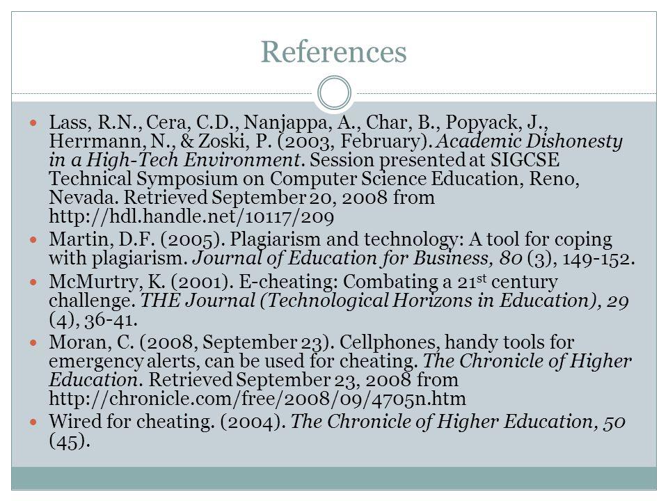 References Lass, R.N., Cera, C.D., Nanjappa, A., Char, B., Popyack, J., Herrmann, N., & Zoski, P.