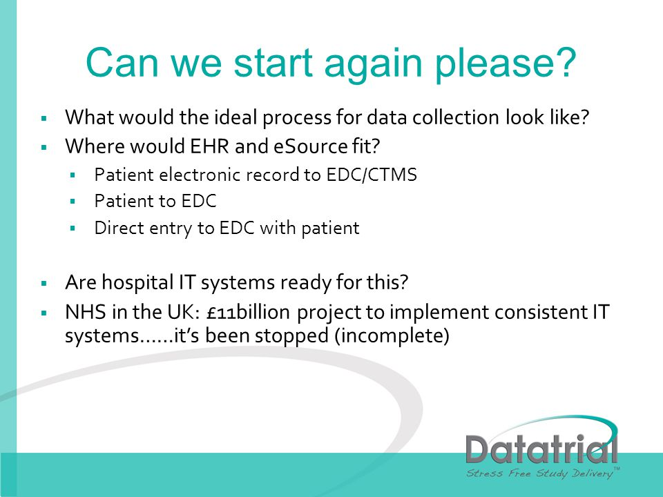 Can we start again please. What would the ideal process for data collection look like.