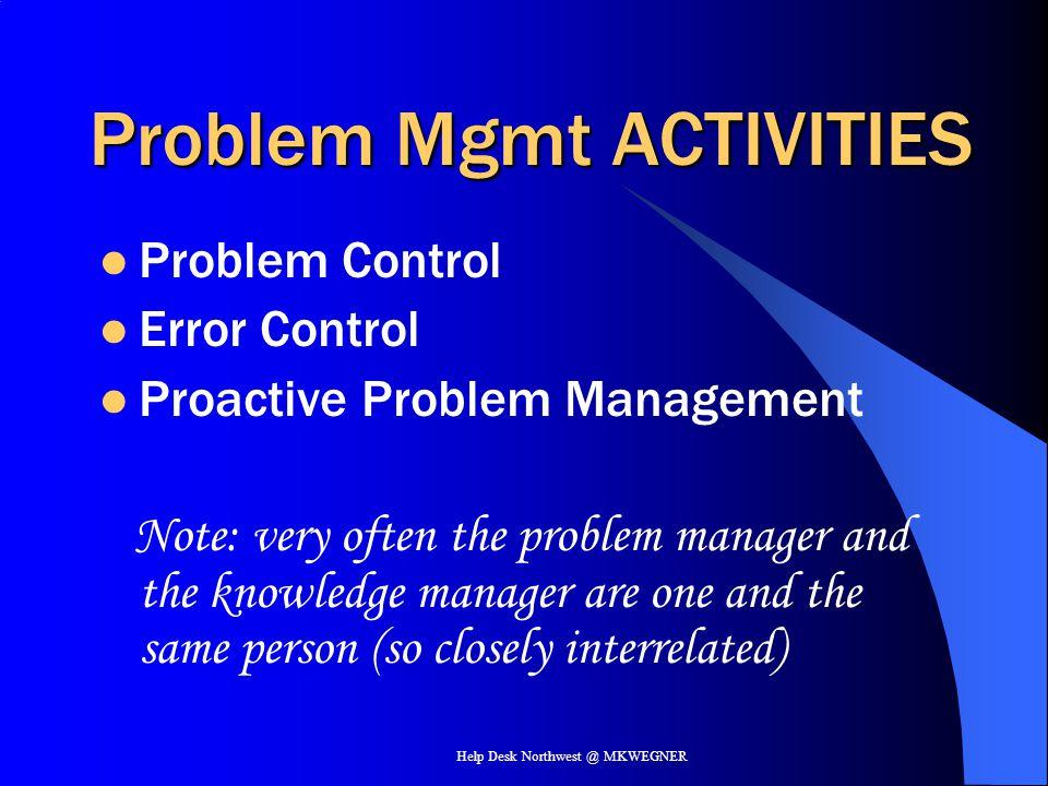 Help Desk Northwest @ MKWEGNER Problem Mgmt ACTIVITIES Problem Control Error Control Proactive Problem Management Note: very often the problem manager