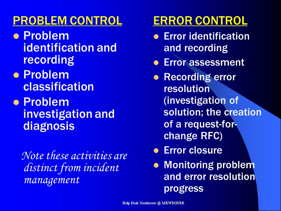 Help Desk Northwest @ MKWEGNER PROBLEM CONTROL Problem identification and recording Problem classification Problem investigation and diagnosis Note th