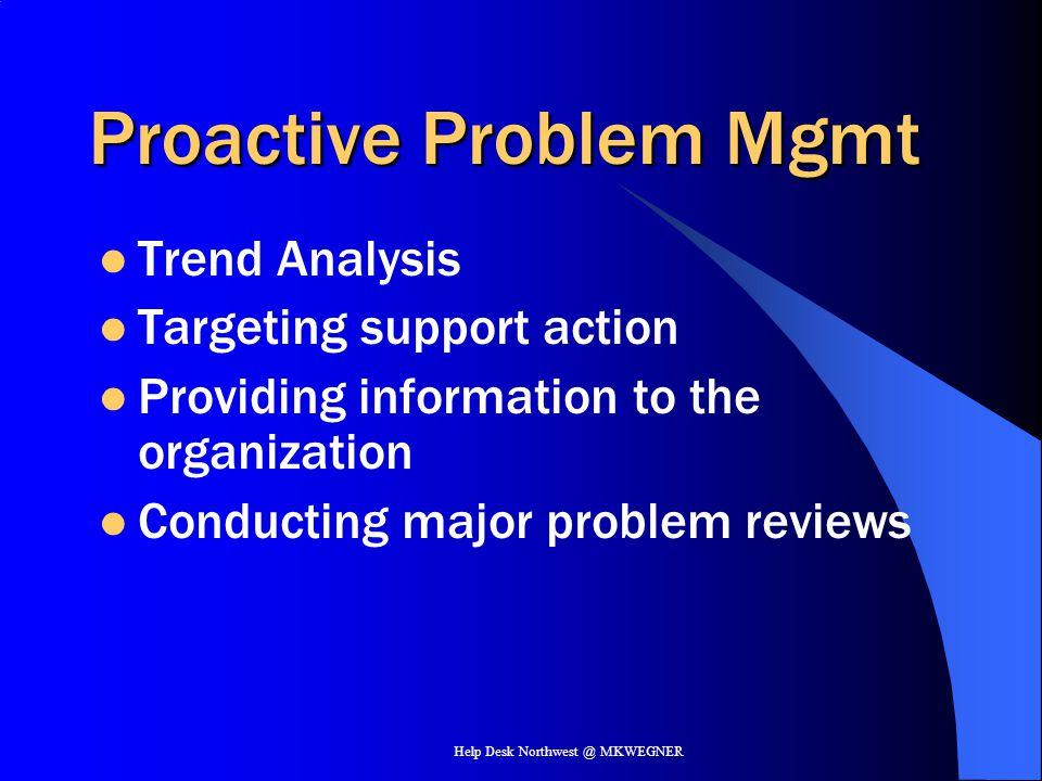 Help Desk Northwest @ MKWEGNER Proactive Problem Mgmt Trend Analysis Targeting support action Providing information to the organization Conducting maj