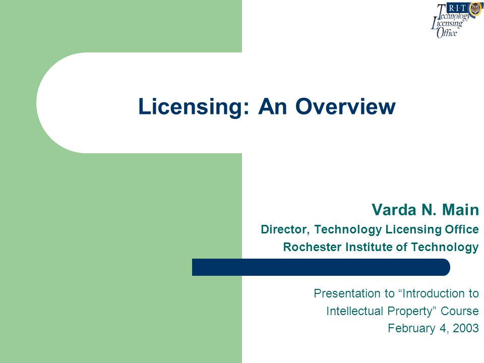 Types of Licenses Exclusive - there can only be one licensee; the licensor has no rights to exploit the technology/product Sole - exclusive but for the licensor; i.e., the licensor has rights to exploit the technology/product Non-exclusive - there is no limit to the number of potential licensees