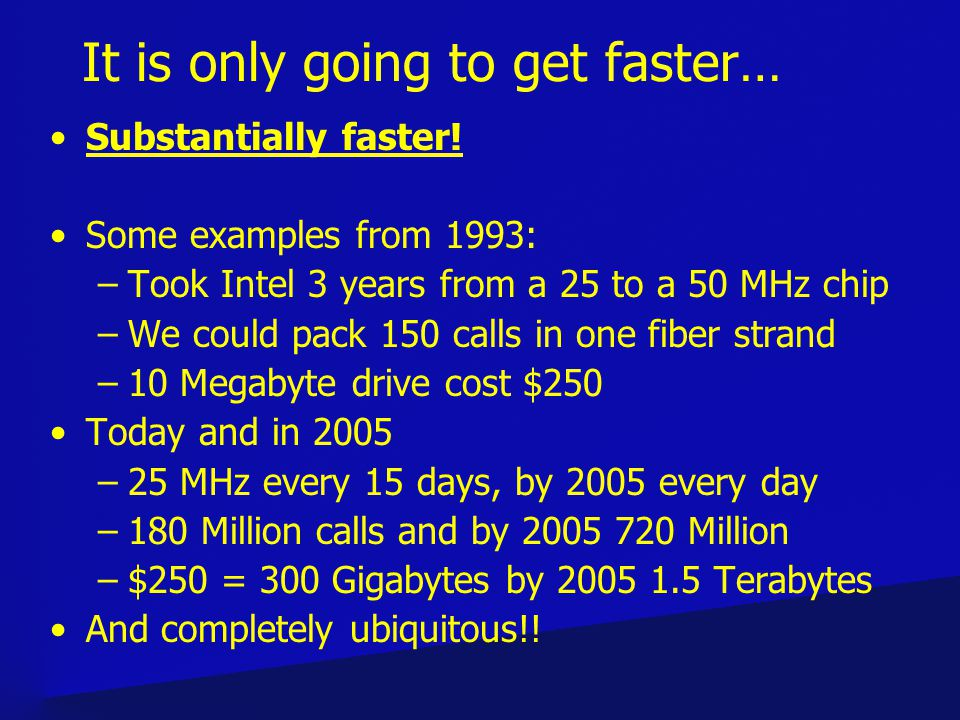 It is only going to get faster… Substantially faster.
