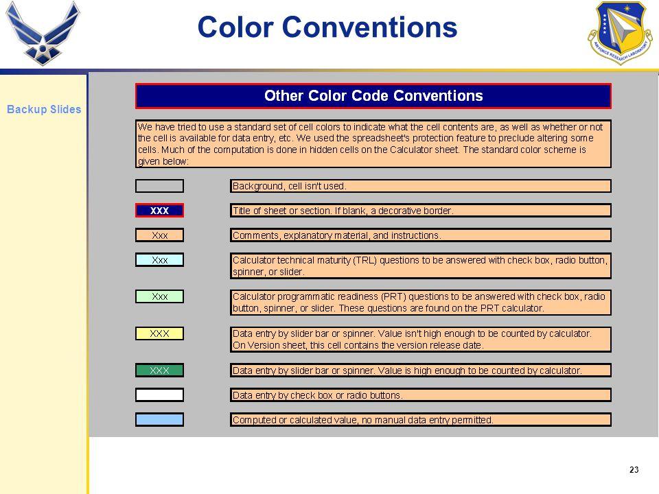 23 Color Conventions Backup Slides