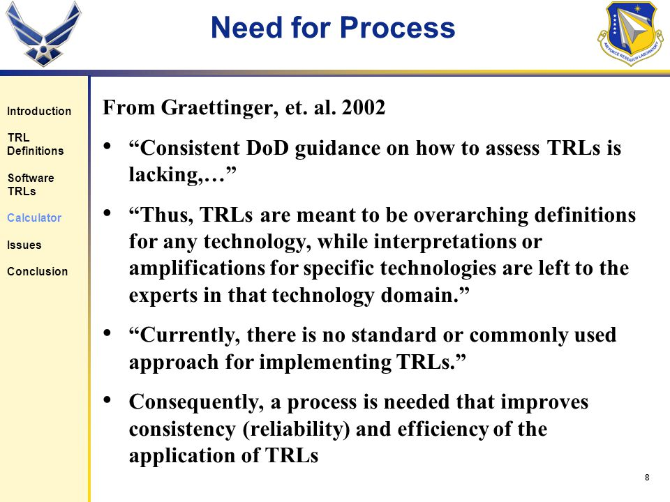 8 Need for Process From Graettinger, et. al.