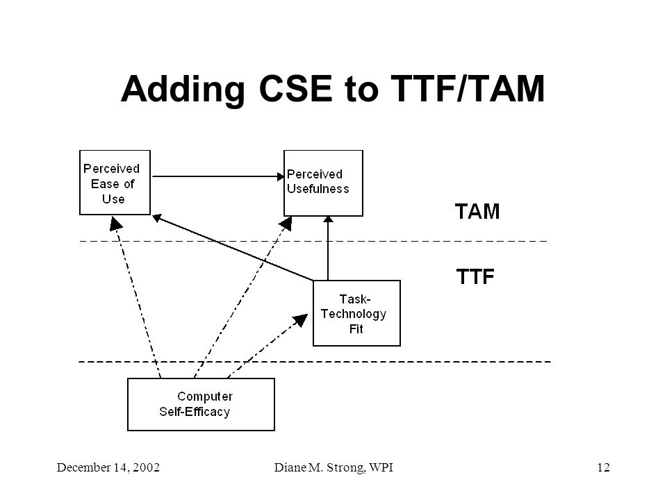 December 14, 2002Diane M. Strong, WPI12 Adding CSE to TTF/TAM