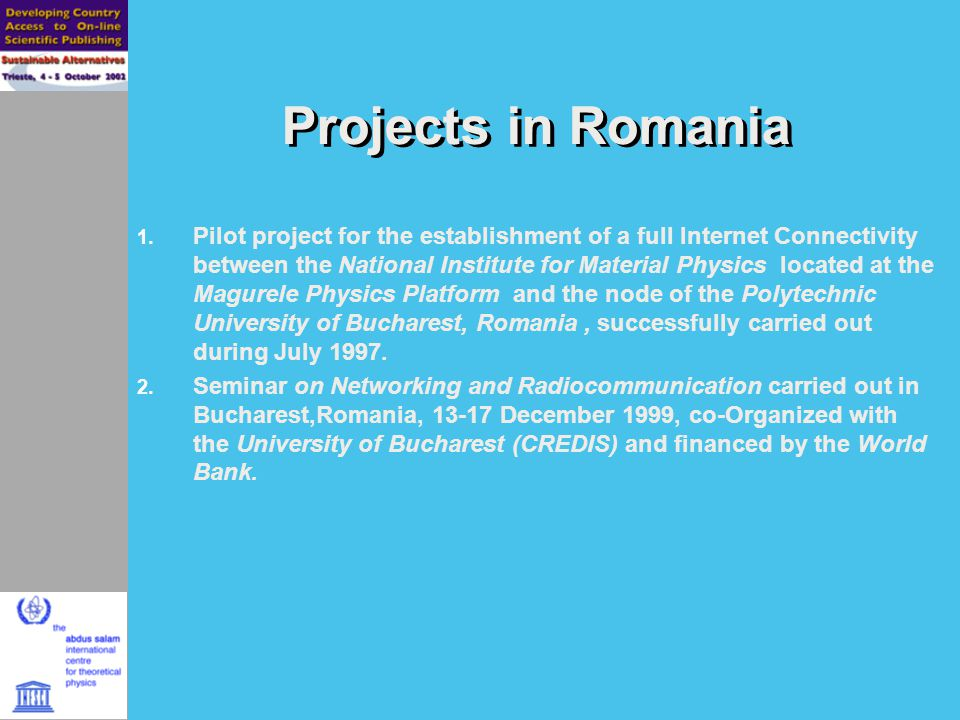 Projects in Romania 1.