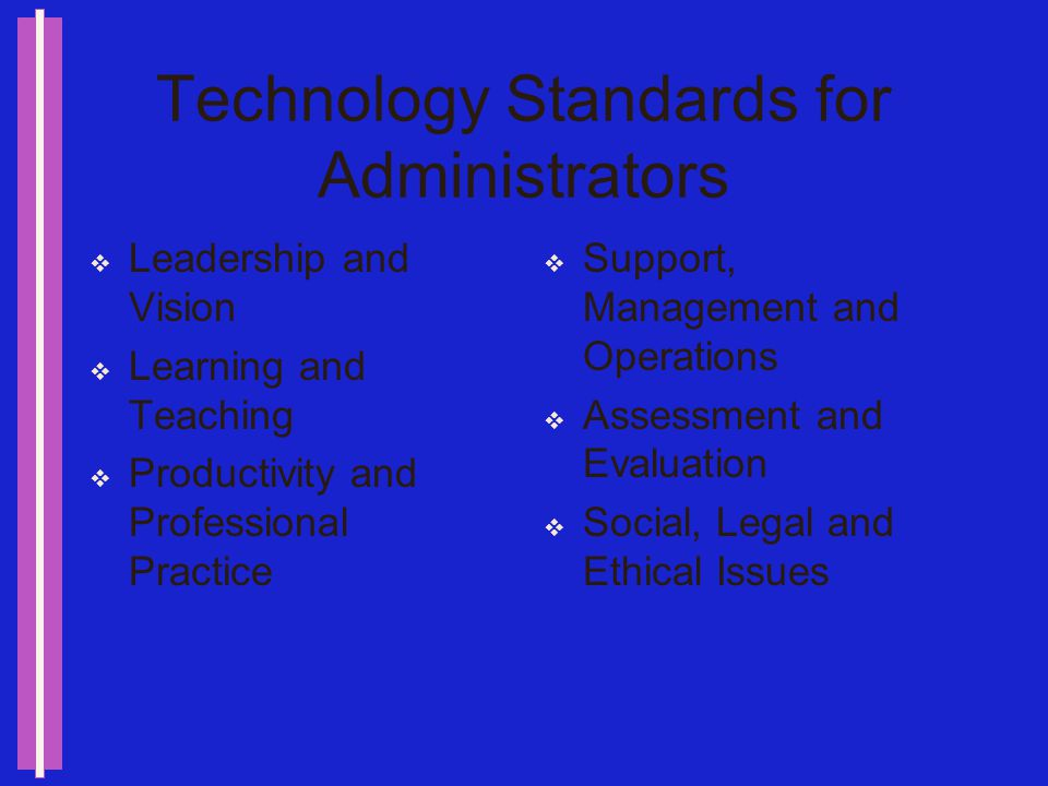 Issues for Administrators Infrastructure Network Hardware Access Software Personal Productivity Implementation Policies Professional Development Integration Evaluation Program Faculty