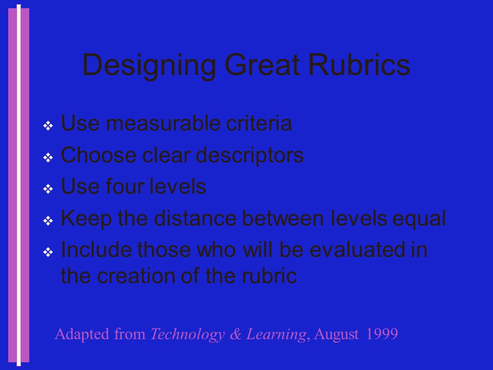 Designing Great Rubrics Make a rubric that covers a range of situations BUT dont be too general AND too much detail can be a problem Limit the number of dimensions Choose key, easily understood criteria Adapted from Technology & Learning, August 1999
