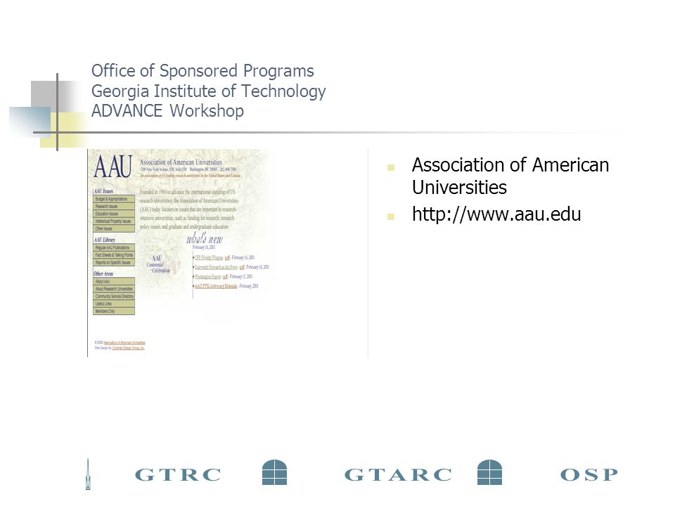 Office of Sponsored Programs Georgia Institute of Technology ADVANCE Workshop Association of American Universities http://www.aau.edu