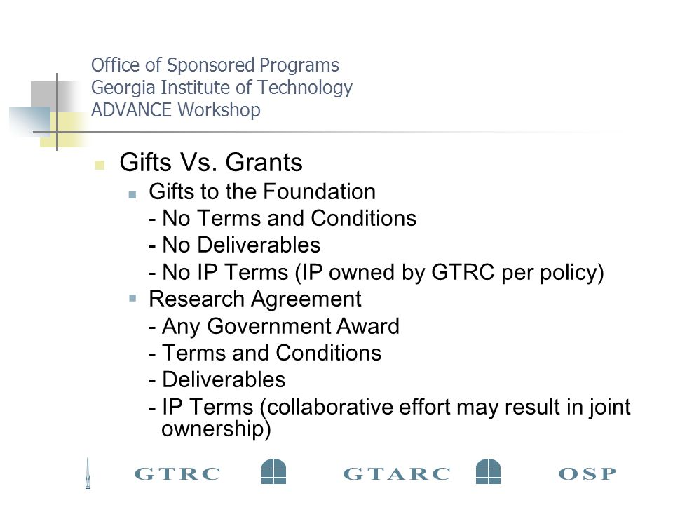 Office of Sponsored Programs Georgia Institute of Technology ADVANCE Workshop First Steps to Finding Funding… Gather Information Pilot Data Document the Need Find a Sponsor Determine the funding priorities and applicant eligibility