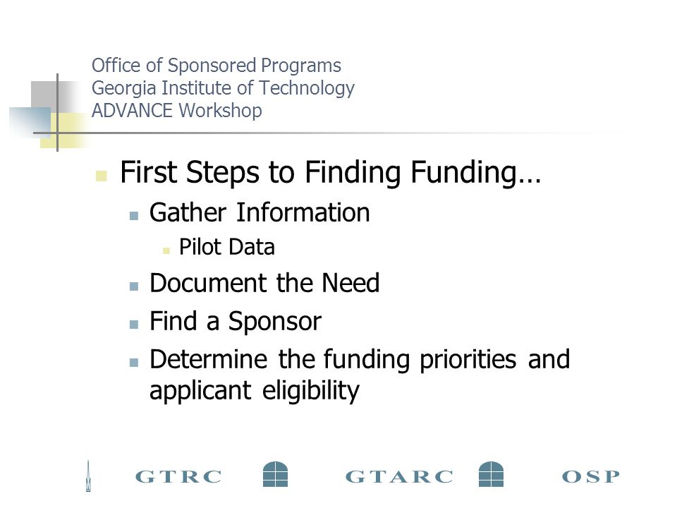 Office of Sponsored Programs Georgia Institute of Technology ADVANCE Workshop Find Funding Beginning the Proposal Process Culture Style Interest