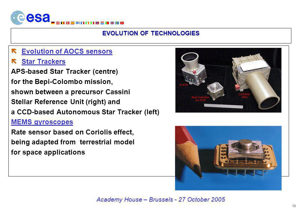 13 Academy House – Brussels - 27 October 2005 EVOLUTION OF TECHNOLOGIES ë Evolution of AOCS sensors ë Star Trackers APS-based Star Tracker (centre) for the Bepi-Colombo mission, shown between a precursor Cassini Stellar Reference Unit (right) and a CCD-based Autonomous Star Tracker (left) MEMS gyroscopes Rate sensor based on Coriolis effect, being adapted from terrestrial model for space applications