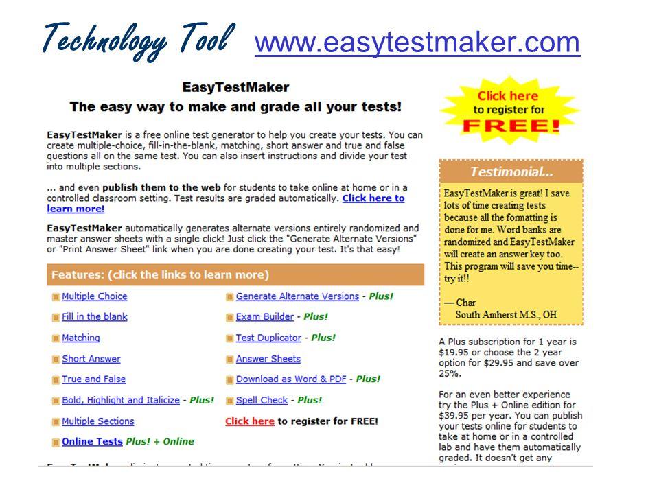 Technology Tool www.easytestmaker.comwww.easytestmaker.com