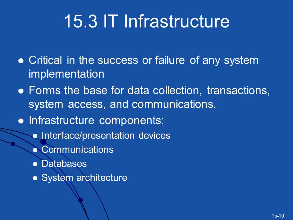 15-10 15.3 IT Infrastructure Critical in the success or failure of any system implementation Forms the base for data collection, transactions, system access, and communications.