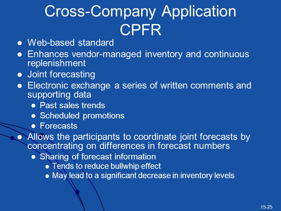 15-25 Cross-Company Application CPFR Web-based standard Enhances vendor-managed inventory and continuous replenishment Joint forecasting Electronic exchange a series of written comments and supporting data Past sales trends Scheduled promotions Forecasts Allows the participants to coordinate joint forecasts by concentrating on differences in forecast numbers Sharing of forecast information Tends to reduce bullwhip effect May lead to a significant decrease in inventory levels