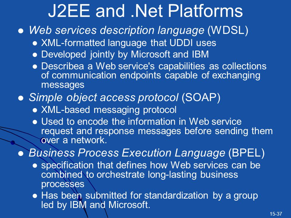 15-37 Web services description language (WDSL) XML-formatted language that UDDI uses Developed jointly by Microsoft and IBM Describea a Web service s capabilities as collections of communication endpoints capable of exchanging messages Simple object access protocol (SOAP) XML-based messaging protocol Used to encode the information in Web service request and response messages before sending them over a network.
