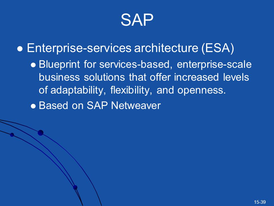 15-39 SAP Enterprise-services architecture (ESA) Blueprint for services-based, enterprise-scale business solutions that offer increased levels of adap