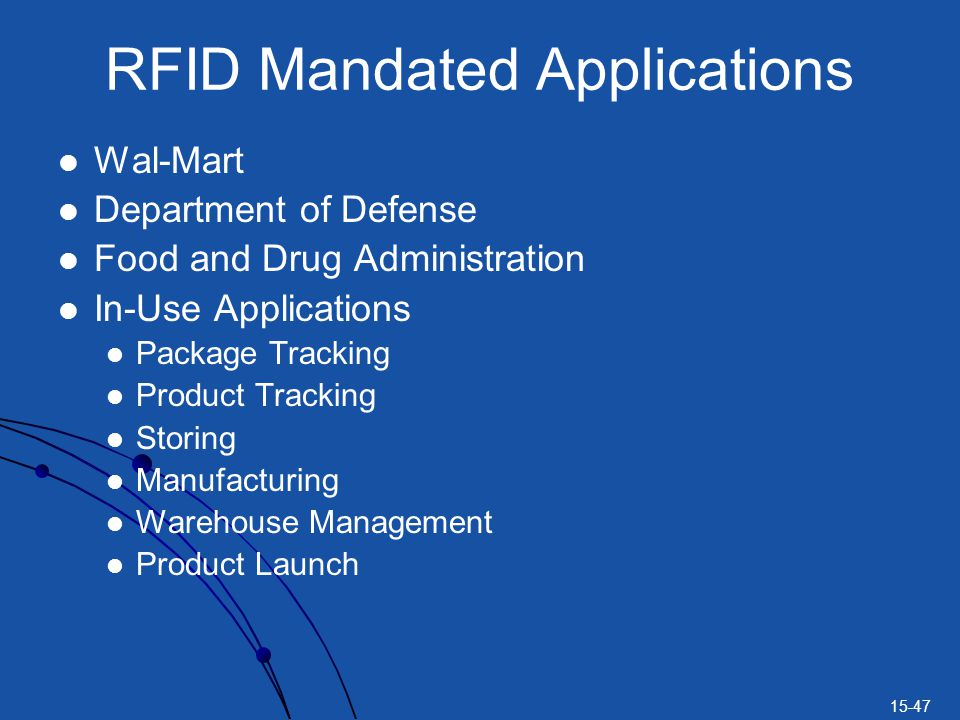 15-47 RFID Mandated Applications Wal-Mart Department of Defense Food and Drug Administration In-Use Applications Package Tracking Product Tracking Sto