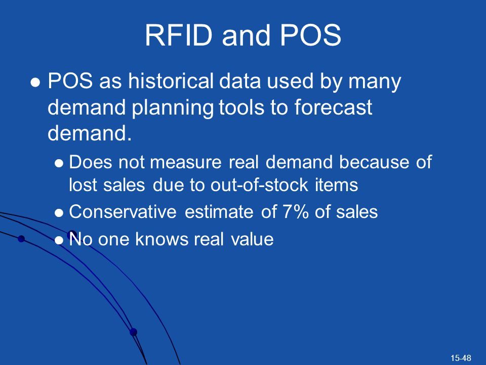 15-48 RFID and POS POS as historical data used by many demand planning tools to forecast demand. Does not measure real demand because of lost sales du
