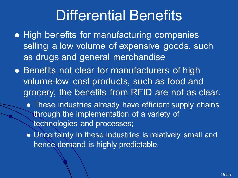 15-55 Differential Benefits High benefits for manufacturing companies selling a low volume of expensive goods, such as drugs and general merchandise B