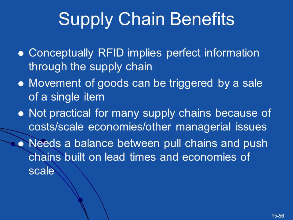 15-56 Supply Chain Benefits Conceptually RFID implies perfect information through the supply chain Movement of goods can be triggered by a sale of a s